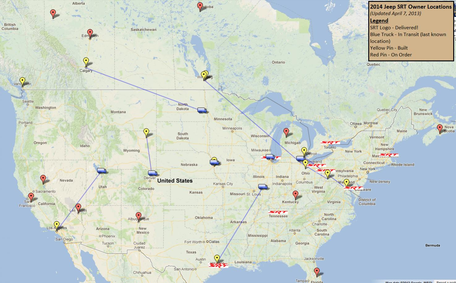 2014 SRT Owners Map 2013 04 07