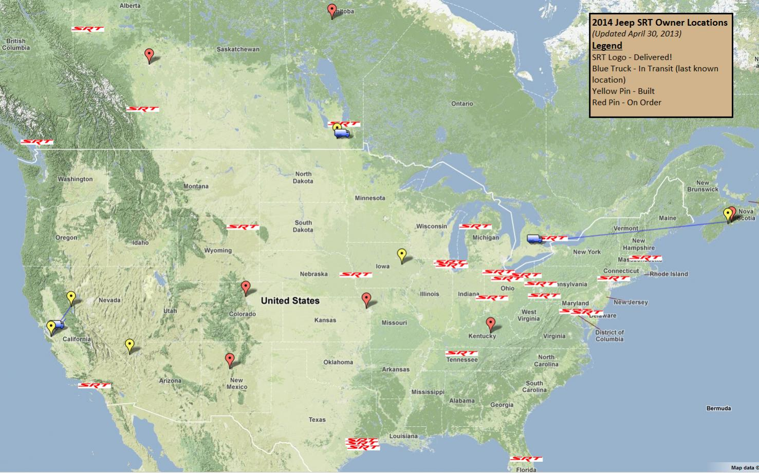 2014 SRT Owners Map 2013 04 30