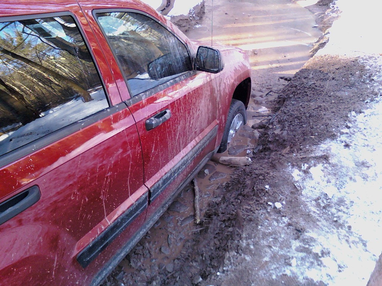 And then the trip went south.  Mud, ice, water, 20*, no cell service and 10 miles from the WV border.  I've seen way too much Wrong Turn for this shit!  Stuck for a few hours til my cousin could go find his friend that had tow hooks.